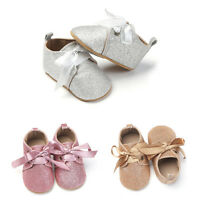 Newborn to 18M Sequins Infants Baby Girl Soft Imitation leather Shoes