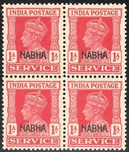 INDIA NABHA 1943 KING GEORGE VI SERVICE MNH BLOCK-4 SCOT# 08/O44 CARMN ROSE 1A,