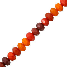 """Faceted Rondelle Crystal Glass Beads 10mm Red & Orange - 6"""" Strand (M64/4)"""