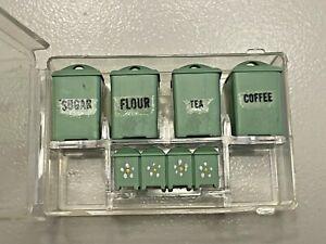 JADITE Chrysnbon CANISTER SET & Spice Jars Artisan Dollhouse Miniature 1:12 NIP