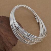Creative Design Plated 925 Sterling Silver Multiple Ten 10 Bangle Bracelet