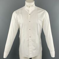 DIOR HOMME Size S White Solid Cotton French Cuff Long Sleeve Shirt