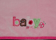 Carters Just One Year Plush BABY Girl Blanket Pink Edge Brown Letters Ladybug