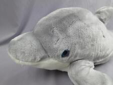 BIG SEAWORLD GREY MAMMAL DOLPHIN BLUE EYES LIFELIKE PLUSH STUFFED ANIMAL TOY