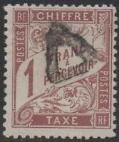 "FRANCE STAMP YVERT TAXE 25 SCOTT POSTAGE DUE J26 "" 1 F BROWN 1884 "" CANCELLED VF"