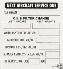 Cessna Piper Beechcraft Mooney Cirrus Diamond Aircraft Service Due Decal