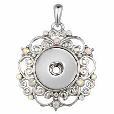 Hot Crystal Jewelry Necklace Pendant Fit 18mm Noosa Snap Button Flower N123