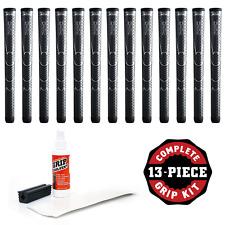 """13 Winn Dri-Tac Oversize +1/8"""" Dark Gray+Golf Grip Kit w/ tape,solvent, & clamp"""