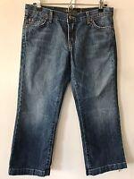 "Women's David Kahn Jeans Sz 29 Cropped Capri medium wash ""Heidi"""