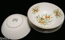 """BUTTERFLY CEREAL OR FRUIT BOWLS 6-1/4""""  ECSTASY PATTERN BY THE SHAFFORD COMPANY"""