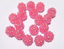 5pz perline in resina strass spacer separatori  12mm  colore rosa bijoux
