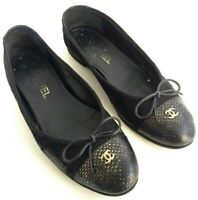 Chanel Ballet Flats Slip On Shoes Womens Size 6 Black