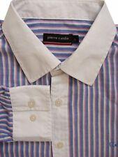 Pierre CARDIN Camicia Blu da Uomo 16.5 L-Pink & White Stripes