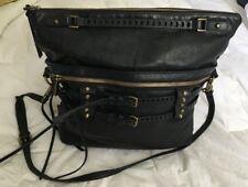 Joelle Hawkens Victory Folder Large Black Leather Satchel Convertible Bag Purse