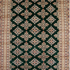 (8 x 5)' Awesome Green Jaldar Abstract Area Rug Hand Knotted Wool Silk Carpet