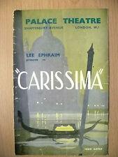 Palace Theatre Programme- Lee Ephraim's CARISSIMA by Eric Maschwitz