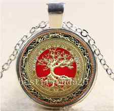Celtic Gold/Red Tree Of Life  Glass Cabochon Tibet Silver Chain Necklace