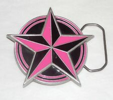 Hot Pink/Black Enameled & Fine Pewter 5-Point Star Belt Buckle With Skull Detail