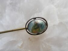 Antique Victorian Blister MOP Abalone Pearl Sterling Silver & Brass Stickpin