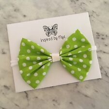 Baby Toddler Girl Large Bow Headband Leather Nylon Hair Accessory Green White 1