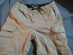 Boys 10/12 Khaki Shorts By Iron CO. With Drawstrings