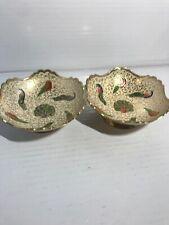 Vintage Decorative Bowl-Enamel/Brass-Peacock -Scalloped Rim-India-Nut Bowls