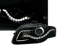 Black clear finish Headlights with LED DRL light strip for Audi A4 B7 04-07
