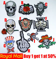 Skull  and Red Rose Flower Patch Badge Applique  Iron On / Sew On