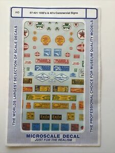 MICROSCALE DECAL HO SCALE 87-421: 1930's & 40's Commercial Signs