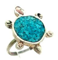 Navajo Turquoise Turtle Sterling Silver 925 Ring 4g Sz.6.25 NEW277