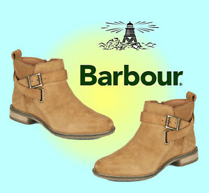 Barbour Jane Sued Ankle Boots - Tan - Size UK 5