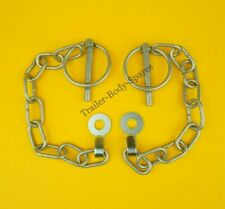 2 x 6mm Galvanised Lynch Pin & Chain with TAB WASHER Ifor Williams Trailer