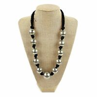 Black Knotted Cord Chunky Silver Metal Beaded Ball Station Necklace Boho Funky