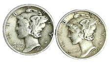 USA Pair Of Mercury Dimes 1936&1943 Silver.900 Coins/Fine Or Better