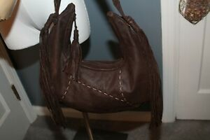 Vintage 80s Brown Leather Fringe Large Boho Bag Purse Hippie Festival Grunge