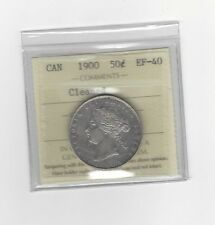 **1900**, ICCS Graded Canadian Silver 50 Cent, **EF-40 Cleaned**