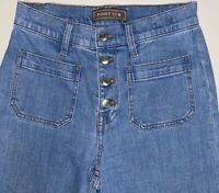 J. Crew Point Sur Womens 25 Button Fly High Rise Denim Jeans Wide Leg Crop Blue