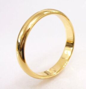 Ring Size H to X 18K Gold Plated Classic Men Women Wedding Band 3 4 5 6mm UK