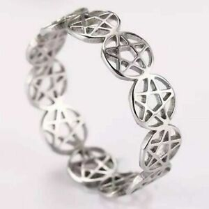 Pentacle Ring Silver Stainless Steel Wicca Pagan Protection Star Band Sizes 7-10