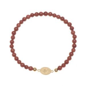 Religious Catholic Bracelet SS Caridad del Cobre medal Venturina beads SSBCMVS-4