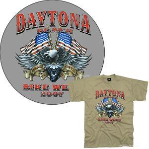 Biker T-Shirt Motorrad USA Bikertreffen Daytona Bikeweek  *4114 khaki sd