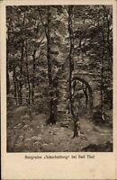 Burgruine Scharfenburg bei Bad Thal Thüringen Postkarte 1920 Partie an der Burg