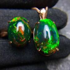 Certified Natural Color Black Opal S925 Silver Pendant Ring +Silver Chain Gift