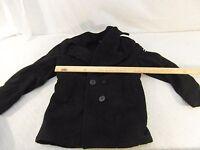 Vintage Military Surplus Women's Enlisted Naval 100% Wool Black Overcoat 10R