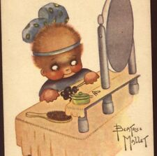 """CHICHIS"" PLEASED BLACK OR LATINO GIRL ADMIRES SELF IN MIRROR,B. MALLET POSTCARD"