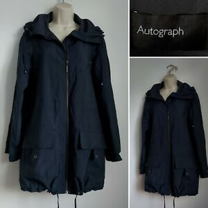 Ladies M&S AUTOGRAPH Navy Dark Blue Lightweight Raincoat Mac 10 Casual