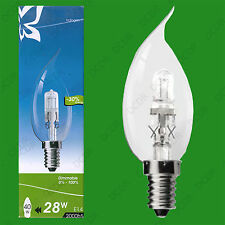 2x 28W (=40W) Dimmable Halogen Bent Tip Clear Candle Light Bulbs SES E14 Lamps