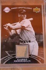 Cromo de Beisbol de Lou Gehrig con trozo de Jersey de los Yankees de Memorabilia