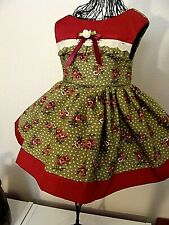FITS AMERICAN GIRL, HANDMADE DOLL DRESS + VALENTINE'S DAY PINK & MAROON ROSE