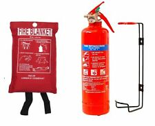 1KG POWDER ABC FIRE EXTINGUISHER WITH FIRE BLANKET HOME OFFICE CAR KITCHEN